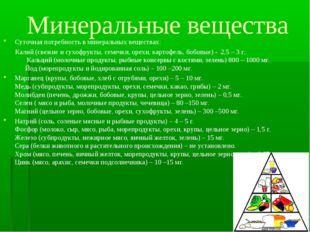 Минеральные вещества Суточная потребность в минеральных веществах: Калий (све