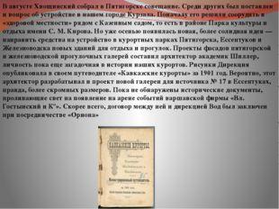 В августе Хвощинский собрал в Пятигорске совещание. Среди других был поставле