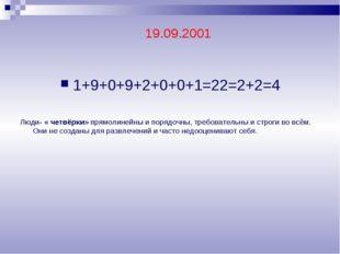 1+9+0+9+2+0+0+1=22=2+2=4 Люди- « четвёрки» прямолинейны и порядочны, требоват