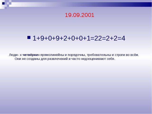 1+9+0+9+2+0+0+1=22=2+2=4 Люди- « четвёрки» прямолинейны и порядочны, требоват...