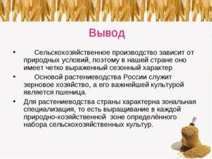 Вывод Сельскохозяйственное производство зависит от природных условий, поэтом