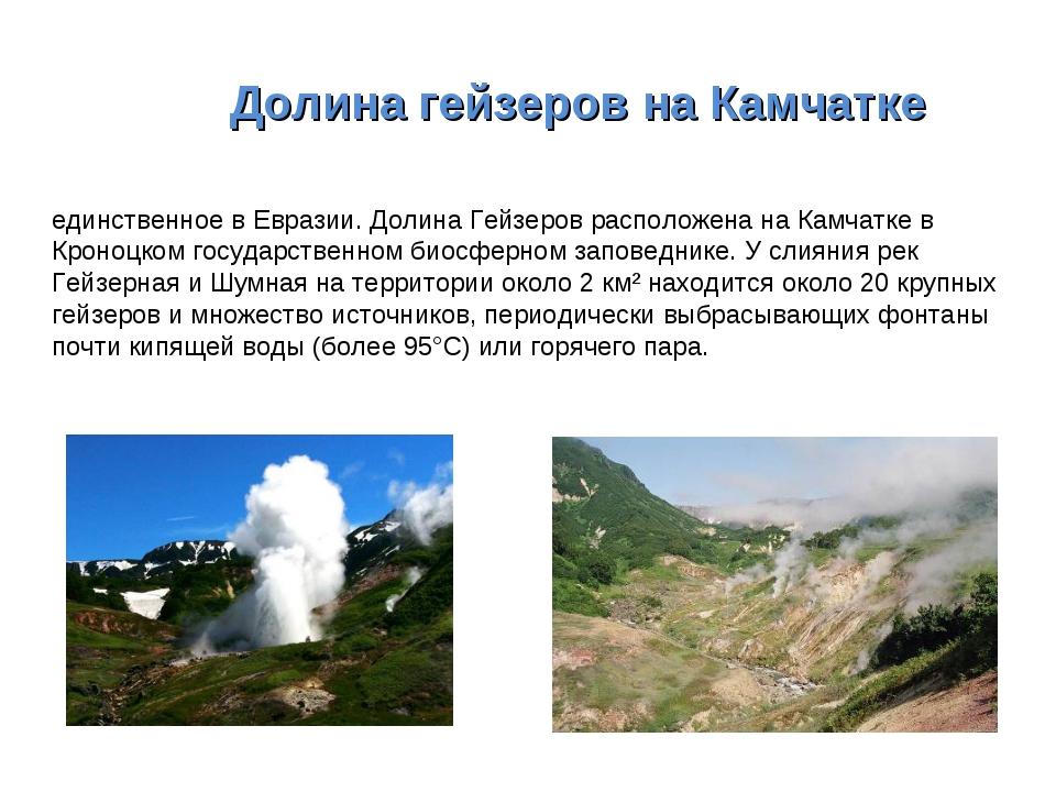 ДолинагейзеровнаКамчатке Доли́на ге́йзеров — это одно из наиболее крупных...