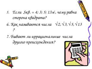 5.Если Sкв. = 4; 3; 5; 13м2, чему равна сторона квадрата? 6. Как называются