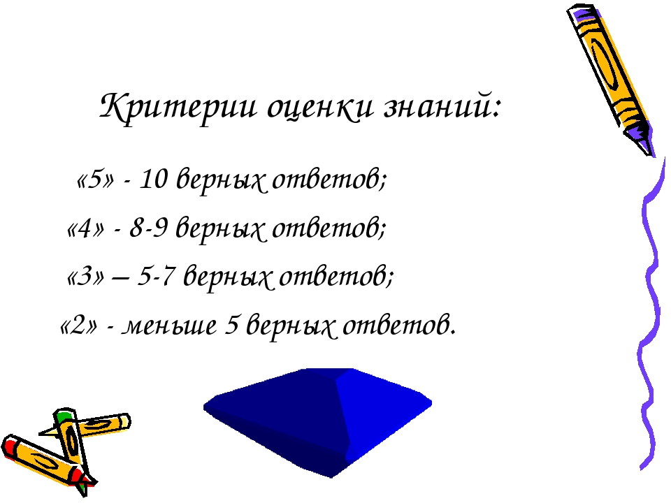 Критерии оценки знаний: «5» - 10 верных ответов; «4» - 8-9 верных ответов; «3...