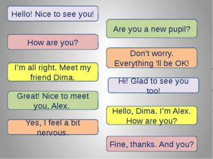 Hello! Nice to see you! Are you a new pupil? How are you? Don't worry. Everyt