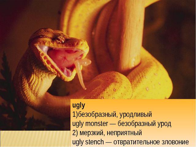 ugly безобразный, уродливый ugly monster — безобразный урод 2) мерзкий, непри...