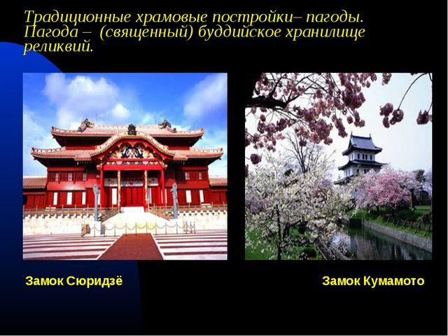 Традиционные храмовые постройки– пагоды. Пагода – (священный) буддийское хра...