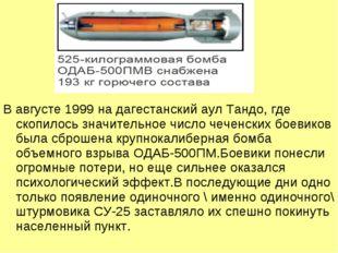 В августе 1999 на дагестанский аул Тандо, где скопилось значительное число че