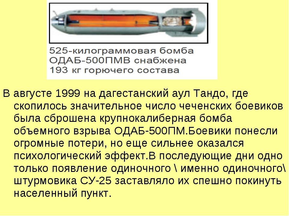 В августе 1999 на дагестанский аул Тандо, где скопилось значительное число че...