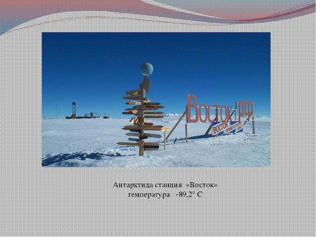 Антарктида станция «Восток» температура -89,2° С