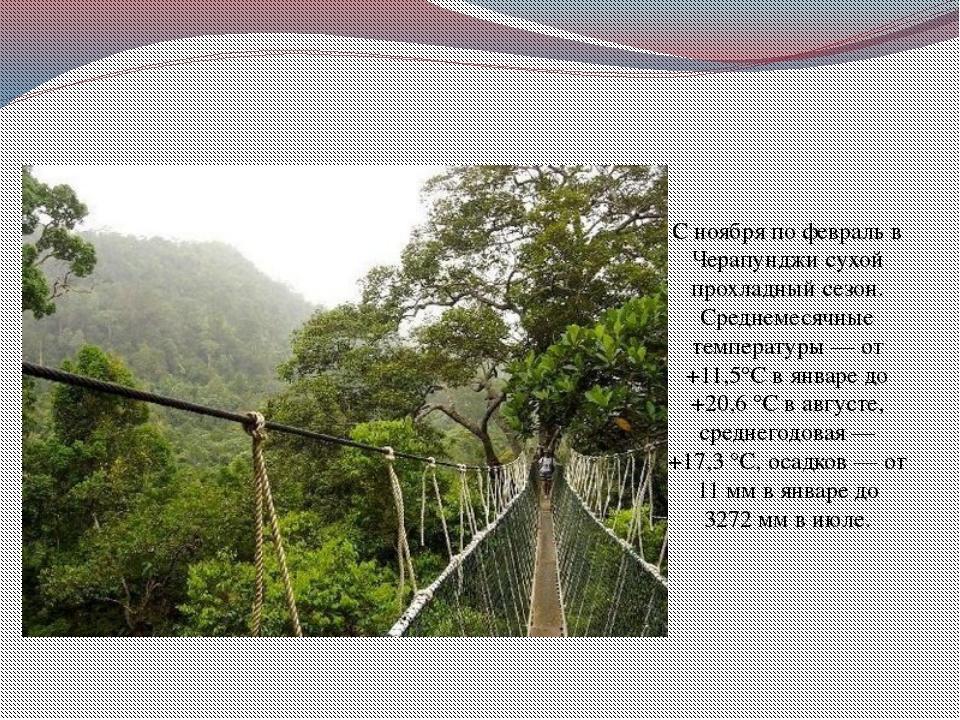 С ноября по февраль в Черапунджи сухой прохладный сезон. Среднемесячные темпе...