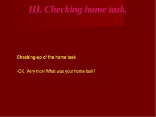 III. Checking home task. Checking-up of the home task -OK. Very nice! What wa