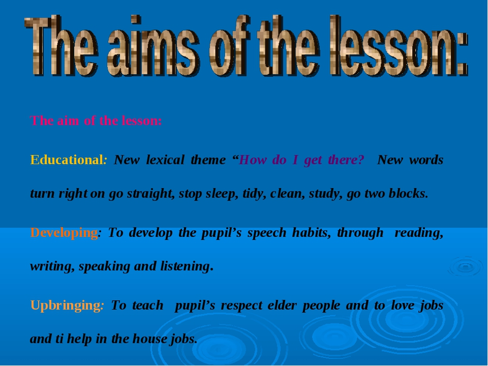 """The aim of the lesson: Educational: New lexical theme """"How do I get there? Ne..."""