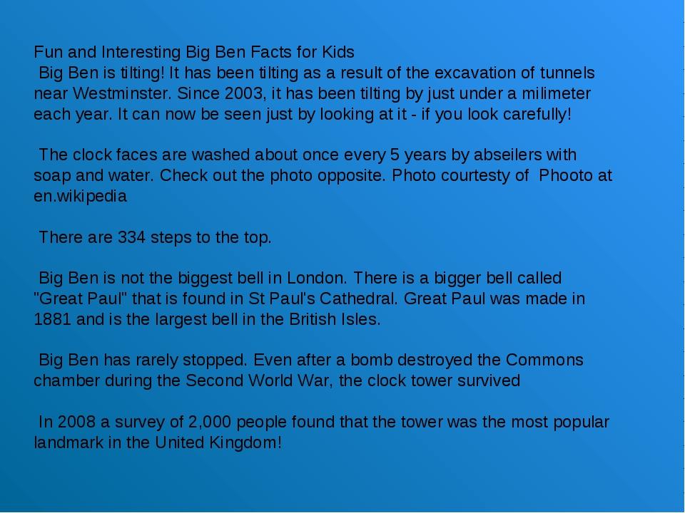 Fun and Interesting Big Ben Facts for Kids Big Ben is tilting! It has been ti...