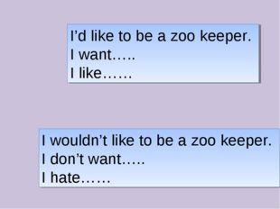 I'd like to be a zoo keeper. I want….. I like…… I wouldn't like to be a zoo k