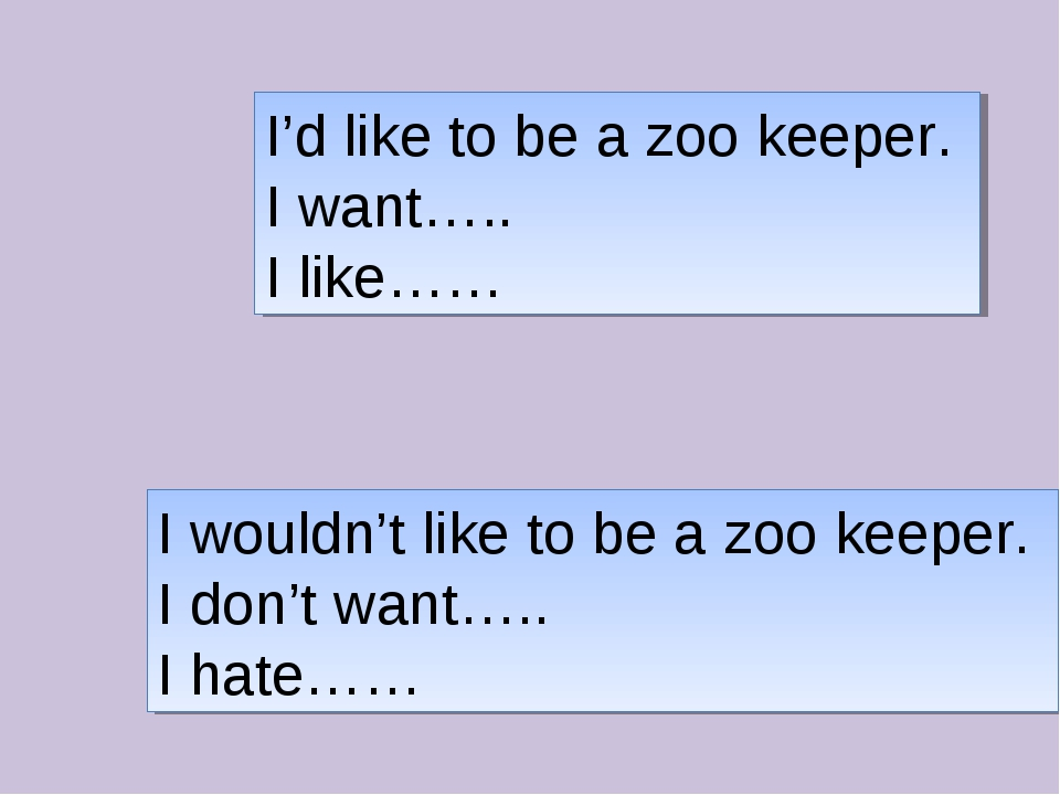 I'd like to be a zoo keeper. I want….. I like…… I wouldn't like to be a zoo k...