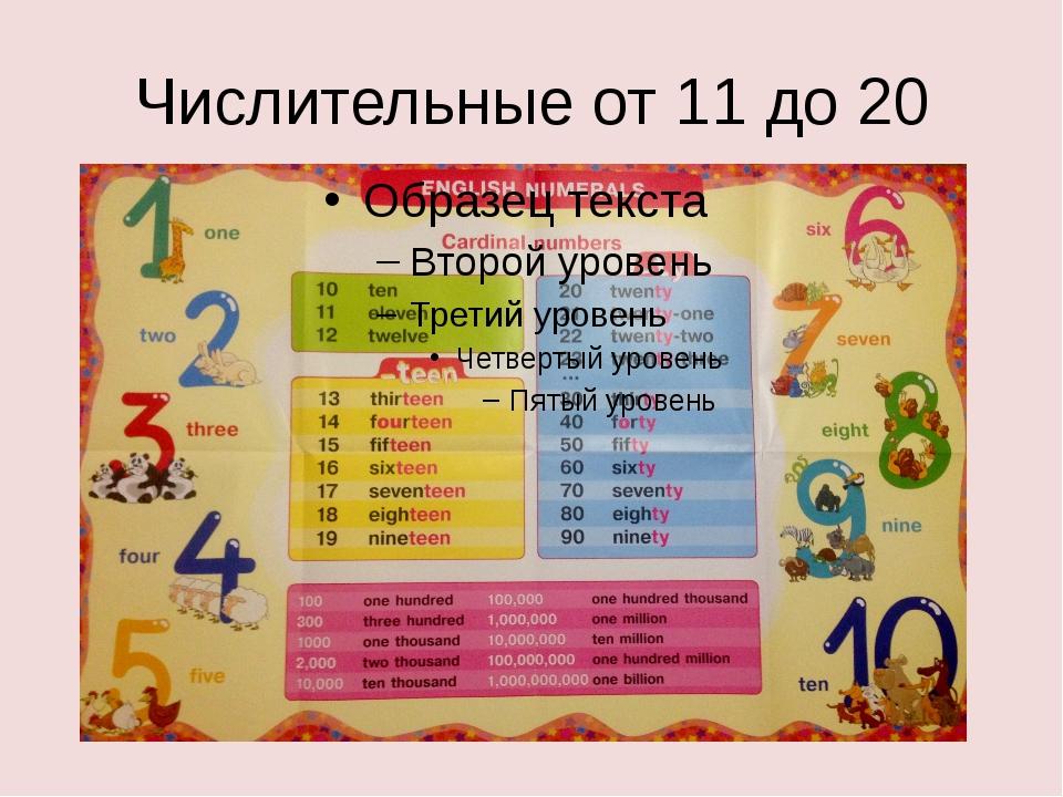 Числительные от 11 до 20