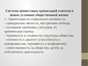 Система ценностных ориентаций учителя в новых условиях общественной жизни: 1.