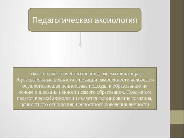 Педагогическая аксиология область педагогического знания, рассматривающая обр...