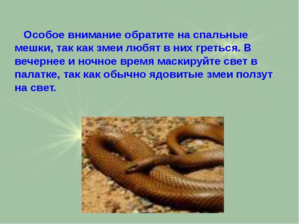 Особое внимание обратите на спальные мешки, так как змеи любят в них греться...