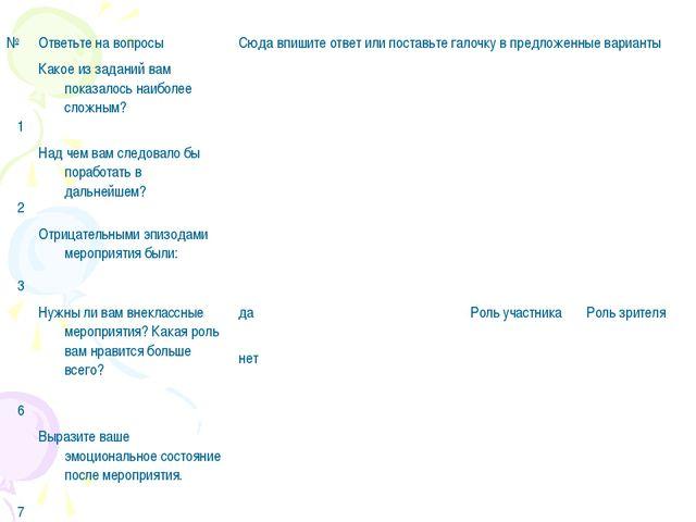 №Ответьте на вопросыСюда впишите ответ или поставьте галочку в предложенные...