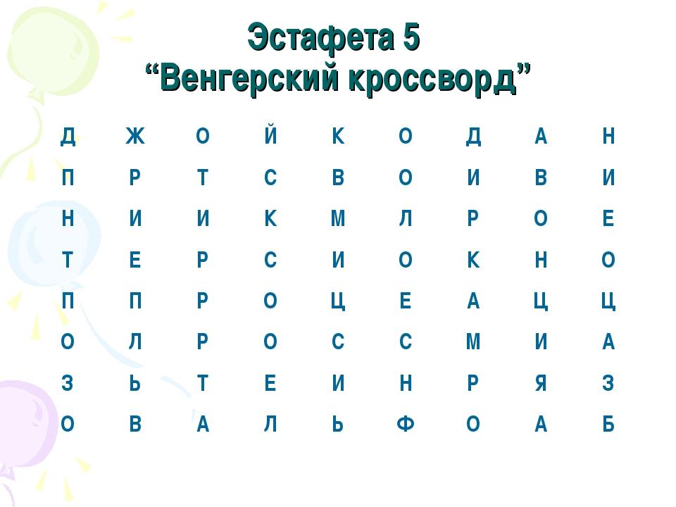 """Эстафета 5 """"Венгерский кроссворд"""" ДЖОЙКОДАН ПРТСВОИВИ НИИК..."""