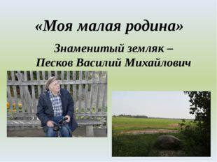 «Моя малая родина» Знаменитый земляк – Песков Василий Михайлович