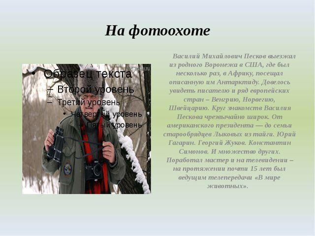 На фотоохоте Василий Михайлович Песков выезжал из родного Воронежа в США, где...