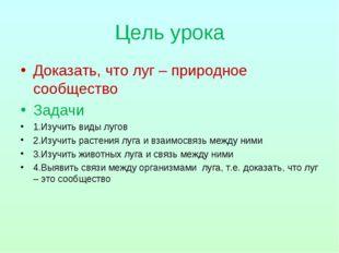 Цель урока Доказать, что луг – природное сообщество Задачи 1.Изучить виды луг