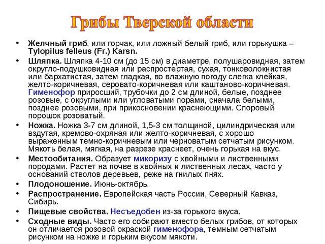 Желчный гриб, или горчак, или ложный белый гриб, или горькушка – Tylopilus fe...