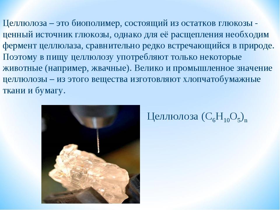 Целлюлоза (С6Н10О5)n Целлюлоза – это биополимер, состоящий из остатков глюкоз...
