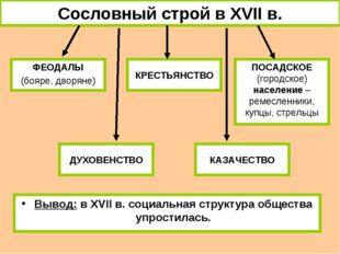 Сословный строй в XVII в. ФЕОДАЛЫ (бояре, дворяне) КРЕСТЬЯНСТВО ПОСАДСКОЕ (го