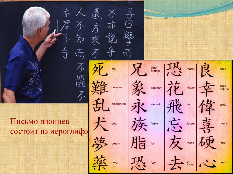 Письмо японцев состоит из иероглифов
