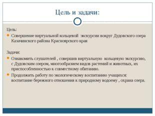 Цель и задачи: Цель: Совершение виртуальной кольцевой экскурсии вокруг Дудовс