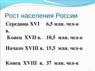 Рост населения России * Середина XVI в.6,5 млн. чел-к Конец XVII в.10,5 млн