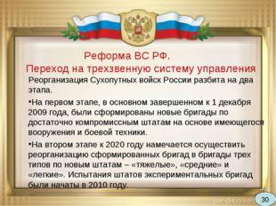 Реформа ВС РФ. Переход на трехзвенную систему управления Реорганизация Сухоп