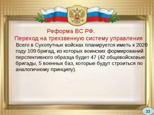 Реформа ВС РФ. Переход на трехзвенную систему управления Всего в Сухопутных