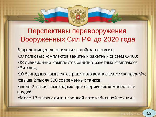 Перспективы перевооружения Вооруженных Сил РФ до 2020 года В предстоящее деся...