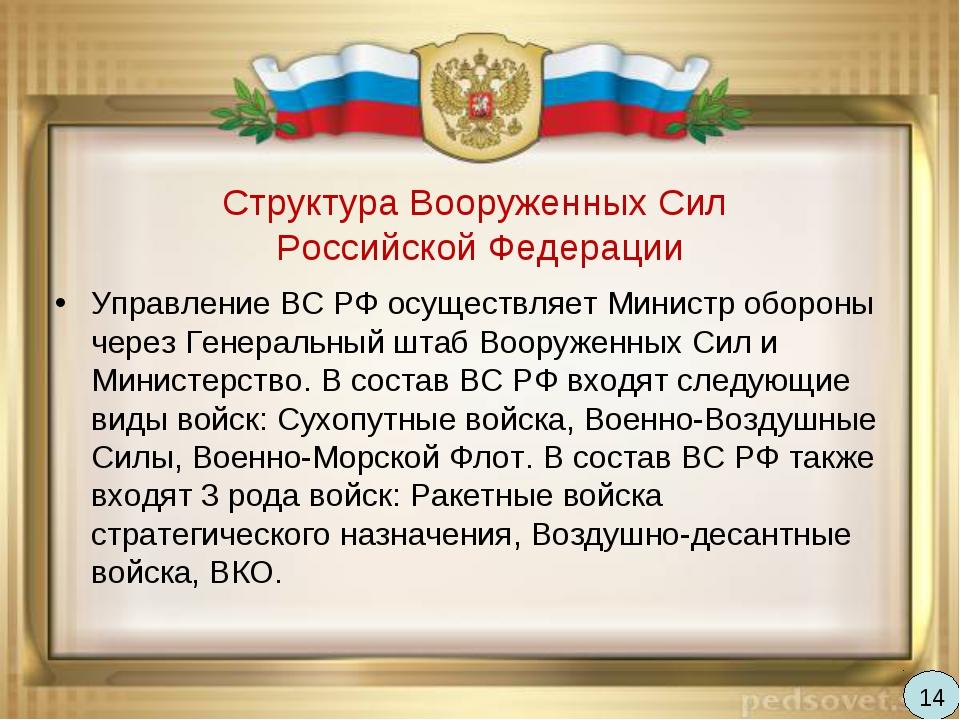 Структура Вооруженных Сил Российской Федерации Управление ВС РФ осуществляет...