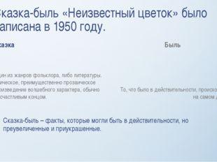 Сказка-быль «Неизвестный цветок» было написана в 1950 году. Сказка Один из жа