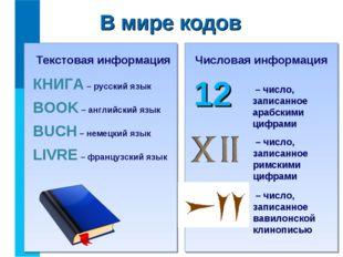 В мире кодов КНИГА – русский язык BOOK – английский язык BUCH – немецкий язык