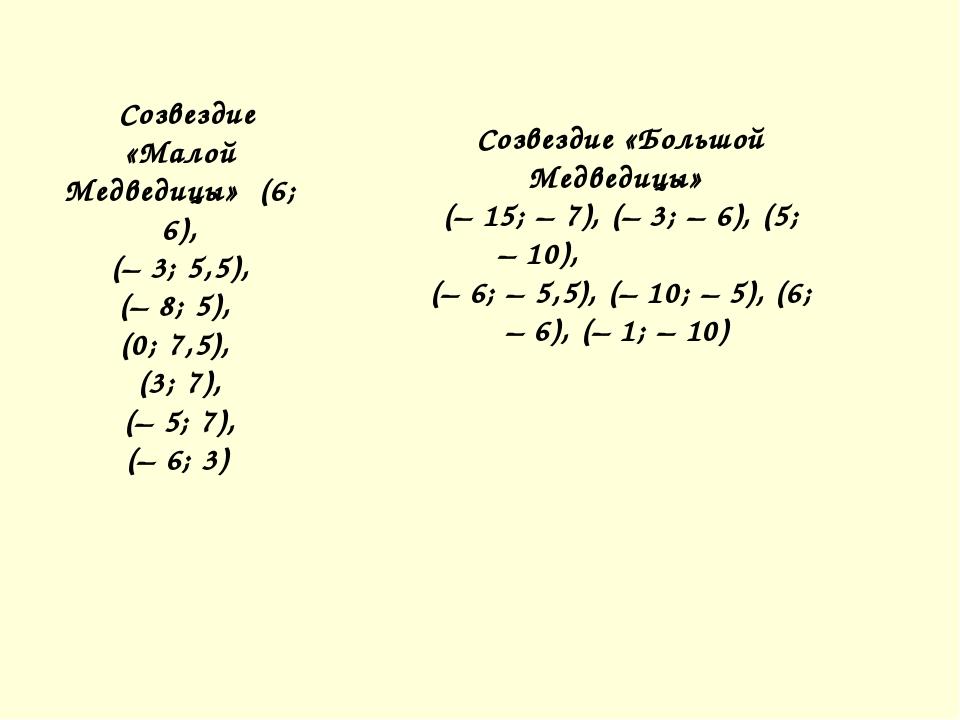 Созвездие «Малой Медведицы» (6; 6), (–3; 5,5), (–8; 5), (0; 7,5), (3; 7...