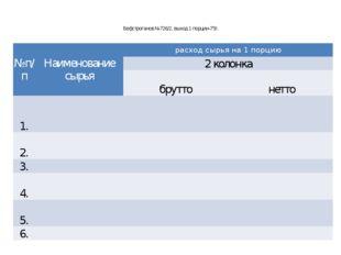 Бефстроганов №726/2, выход 1 порции-75г. №п/п Наименование сырья расход сырья