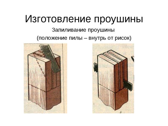 Изготовление проушины Запиливание проушины (положение пилы – внутрь от рисок)