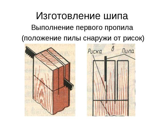 Изготовление шипа Выполнение первого пропила (положение пилы снаружи от рисок)