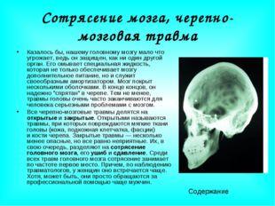 Сотрясение мозга, черепно-мозговая травма Казалось бы, нашему головному мозгу