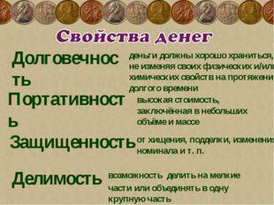 Долговечность  Портативность  деньги должны хорошо храниться, не изменяя св