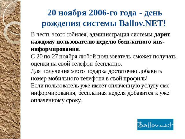 20 ноября 2006-го года - день рождения системы Ballov.NET! В честь этого юбил...