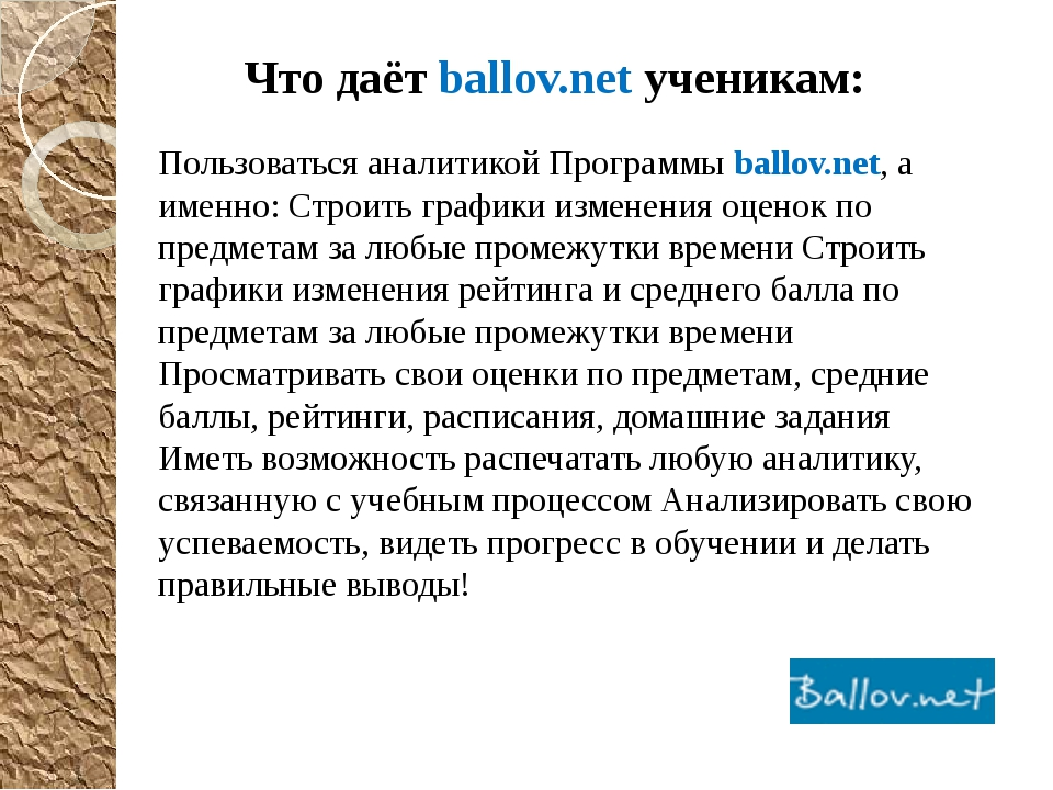 Что даёт ballov.net ученикам: Пользоваться аналитикой Программы ballov.net, а...