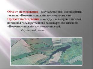 Объект исследования - государственный ландшафтный заказник «Новоникулинский»